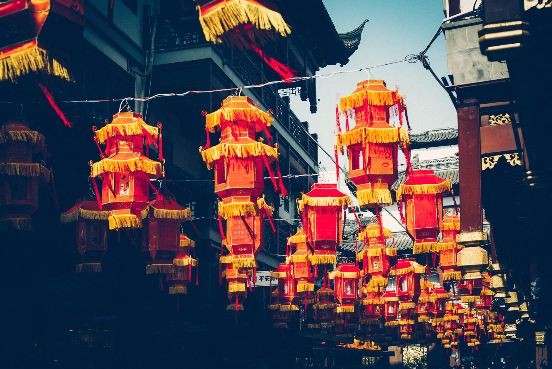 Shanghai China Klischee La,pions