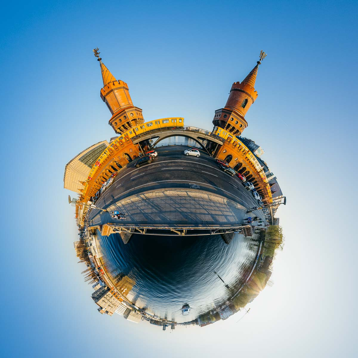 Oberbaumbrücke Berlin Little Planet – 360° Foto