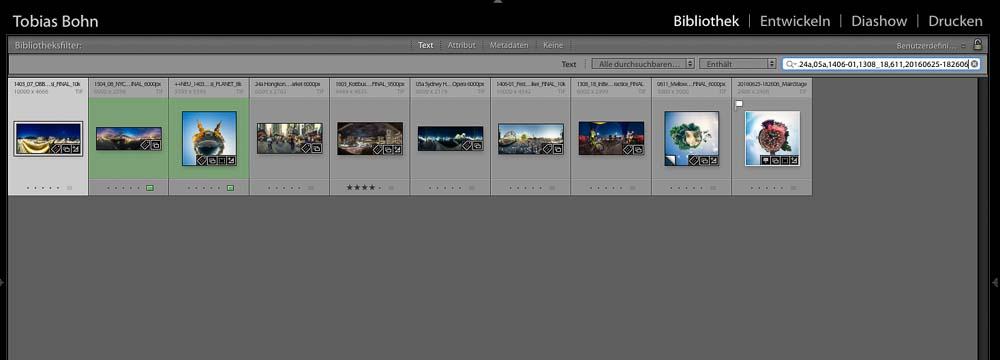 Auswahl aus Excel in Lightroom übernommen