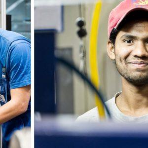 Deutscher und indischer Mitarbeiter in Produktion – Industriefoto