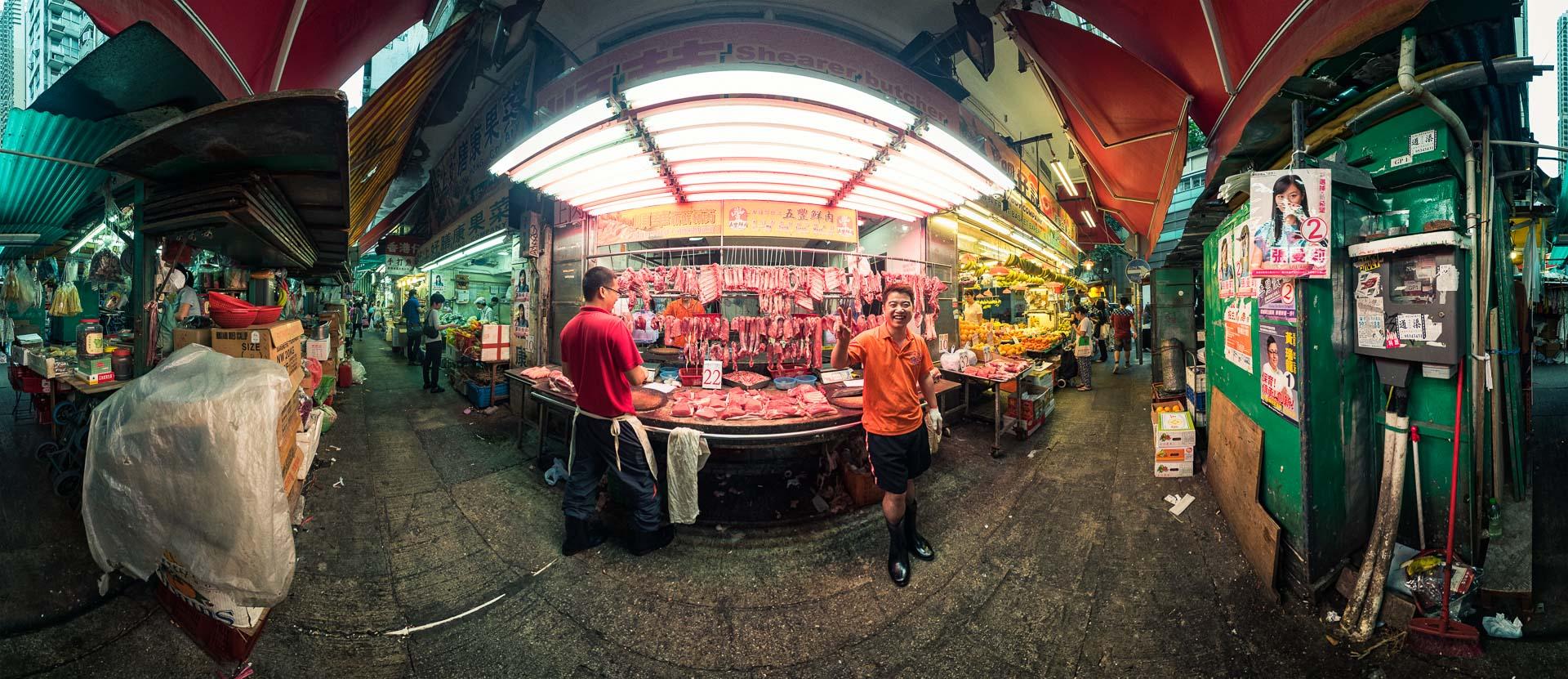 Streetmarket in Hong Kong Butcher – 360° Foto