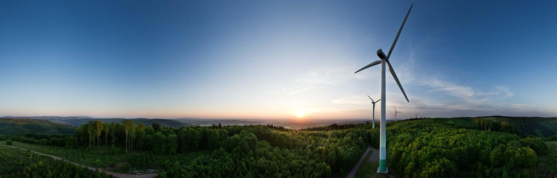 Sonnenuntergang Windräder – 360° Foto