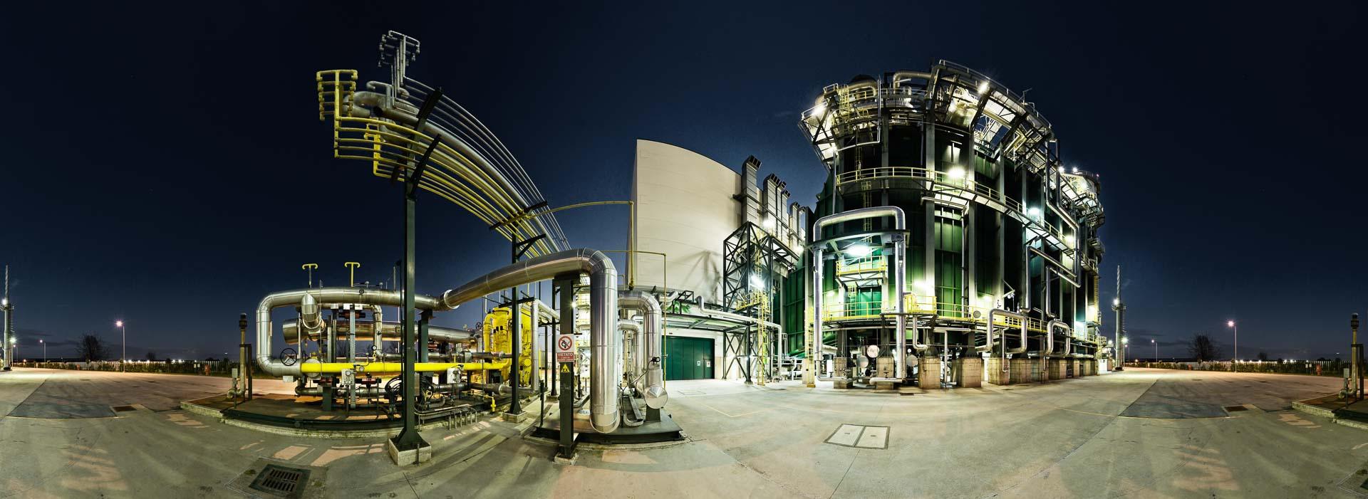 Gas Industrie blaue Stunde– 360° Foto