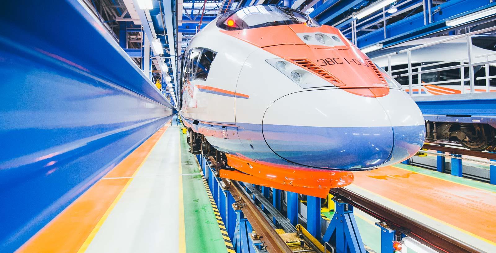 Sapsan russicher Zug im Depot – Industriefoto