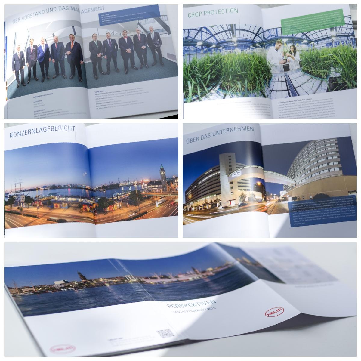 Collage mehrerer Seiten des Geschäftsberichts der HELM AG Panoramafotos